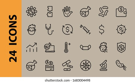 CORONAVIRUS a set of icons on the theme of Coronavirus, contains such icons as nucleation, hand washing, mask, bacteria, sneezing, Editable stroke, on a white background.