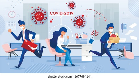 Coronavirus Spread around People. Sick Woman Employee Coming to Work. Covid19 Virus Infection Transmission via Cough. Coworker in Facial Mask Run Away in Panic. Health Preservation Personal Hygiene