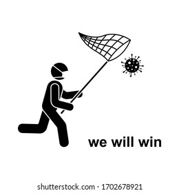 Coronavirus stick figure running man with butterfly net icon sign symbol vector illustration pictogram. Stickman in mask fighting, catching virus, under control, win infection silhouette set