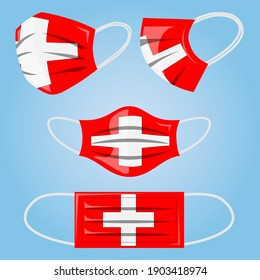 Coronavirus in Switzerland. Protective medical face mask in colors of Swiss flag. Vector of surgical mask with Swiss flag. Concept of coronavirus quarantine.