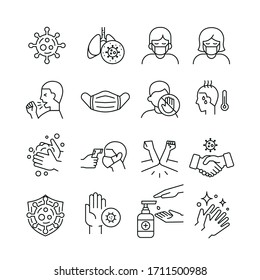 Coronavirus symptoms & precautions sign. mask, fever body check gun thermometer, elbow shake, hand sanitizer. Virus related icons-thin,black and white kit.Vector illustration on white background.EPS10