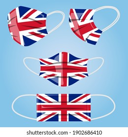 Coronavirus in United Kingdom. Protective medical face mask in colors of Britan flag. Vector of surgical mask with UK flag. Concept of coronavirus quarantine.