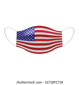 Coronavirus in United States. Graphic of surgical mask with american flag. Novel coronavirus (2019-nCoV or CoVid-19). Medical face mask as concept of coronavirus quarantine. Coronavirus outbreak.