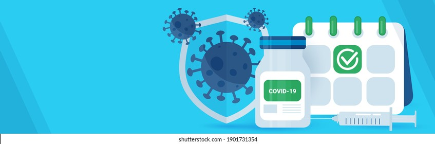 Coronavirus vaccine planning concept, covid-19. Horizontal web banner with empty space.