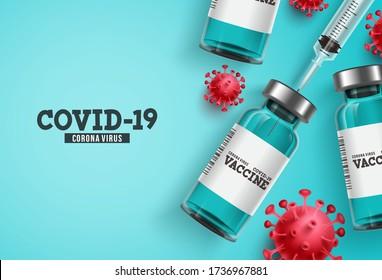 Coronavirus vaccine vector background. Covid-19 corona virus vaccination with vaccine bottle and syringe injection tool for covid19 immunization treatment. Vector illustration.