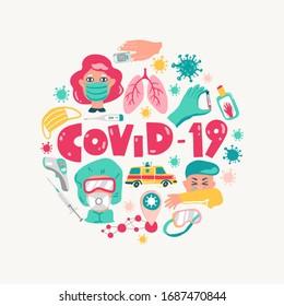 Coronavirus vector cartoon round illustration. Symptoms, equipment and characters. COVID-2019 pandemic.
