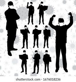 Coronavirus vector concept. Men with masks on their faces. Vector silhouettes of business people in different poses. People silhouette set