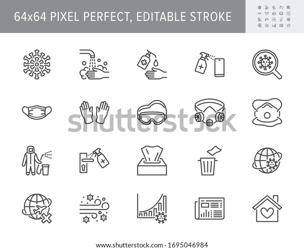 Coronavirus, virus prevention line icons. Vector illustration include icon - wash hands disinfection, face mask, sanitizer gloves outline pictogram for infographic. 64x64 Pixel Perfect Editable Stroke