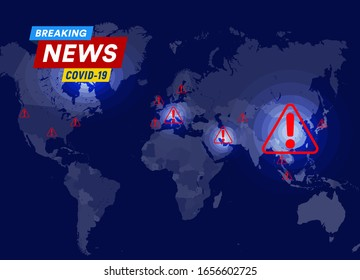 Coronavirus virus spread statistics , mortality and infection map with infection area and points template for news, social media, medical inforgraphic, web, vector illustration.