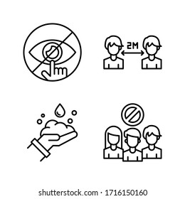 Coronavirus / Virus Transmission icon set = Do not touch eye, social distance, washing hand, avoid crowds