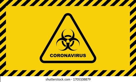 Coronavirus warning sign in a triangle. Global epidemic of SARS-CoV-2 Covid-19. Vector illustration.