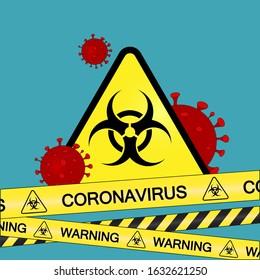 Coronavirus warning sign in a triangle and warning tape vector illustration. Coronavirus in Europe. Chinese virus outbreak. Global epidemic of COVID-2019.
