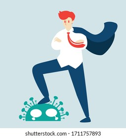 Coronavirus win concept. Business man rejoice over the victory over the virus idea,People celebrating victory over nCoV virus. defeated covid-19, Vector illustration cartoon flat design,