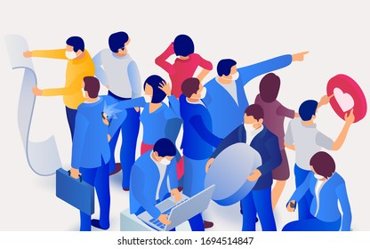 Coronavirus in World (2019-nCoV). Group of people wearing protection medical face mask to protect and prevent virus. People work and relax during a pandemic. 3d isometric vector illustration.