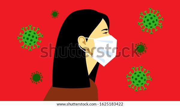 Coronavirus in the World. Coronavirus (2019-nCoV), woman in white medical face mask. Female portrait surround viruses in the air. Concept of coronavirus, quarantine, lockdown. Modern illustration