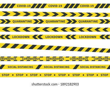 Coronavirus yellow stripes. Danger tape symbols vector illustration. Pandemic risk. Warning stripe on isolated on white background.