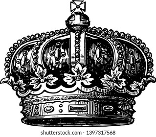Coronet of the Late Prince Consort crown vintage line drawing or engraving illustration.