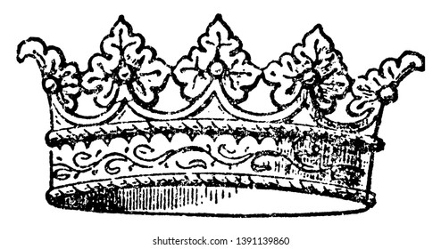 Coronet is a small crown, vintage line drawing or engraving illustration.