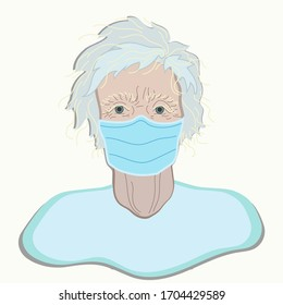 Coronovirus illustration for Landing Page or Presentation about People at Risk. Grand mama, old woman in Mask.