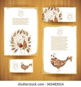 Corporal identity vector templates set of batik birds