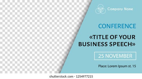 Corporate announcement banner template. Vector flyer for business conference. Social media promo poster