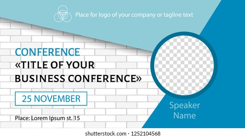 Corporate announcement banner. Vector flyer template for business conference