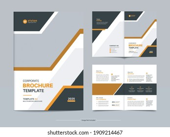Corporate bi fold business brochure template design with Clean, minimal and modern shapes in A4 format
