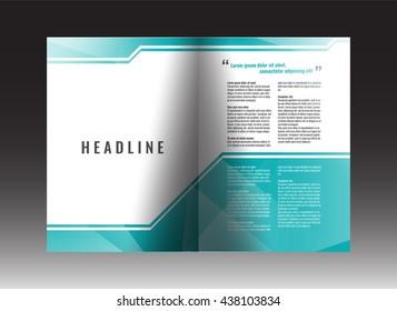 Corporate bi-fold brochure template design. Annual report, presentation, book cover or flyer. Stock vector.