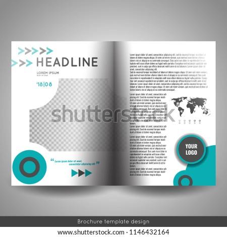 corporate bifold brochure template design annual stock vector