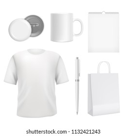 Corporate blank souvenirs. Business identity elements template. Souvenir company cup and clothing, branding promotional. Vector illustration