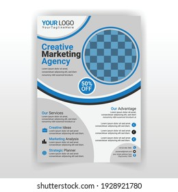 Corporate Blue Color Flyer Template With Ellipse Shape