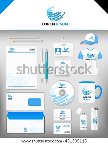 Corporate Blue Identity Template Realistic Cup Stock Vector Royalty