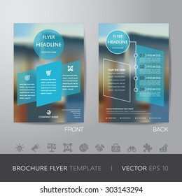 corporate blur background brochure flyer design layout template in A4 size, with icon for your content, with bleed, vector eps10.