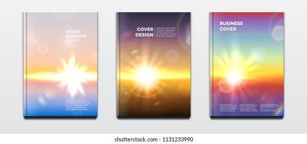 Corporate booklet cover or annual report and presentation book with natural design, sun and hard cover