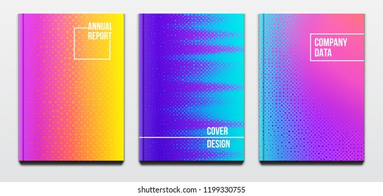 Corporate booklet covers or annual reports and presentation books with blurred futuristic design and hard cover