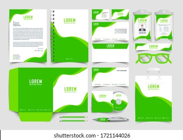 Corporate Brand Identity Mockup set Green and white color design. Abstract geometric graphics on guide,  annual report cover, notebook, letterhead. Business stationary elements mockup template