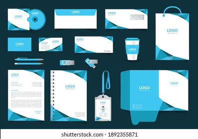 Corporate Brand Identity Mockup set with digital elements. Classic full stationery template design. Editable vector illustration: Business card, Bag, Id card, envelope, cup, letterhead, pen etc.
