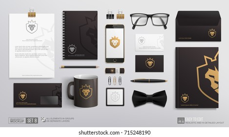 Corporate Brand Identity Mockup set. Business Stationery mockup with lion crown icon logo. Personal Branding mock-up of corporate mug, notepad, blank, envelope, business card, Golden logotype