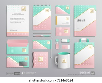 Corporate Brand Identity Mockup set. Light Turquoise and soft pink color abstract trendy geometric graphics, corporate mug, cover brochure, letterhead. Business stationary mockup template