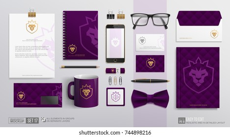 Corporate Brand Identity Mockup set. Purple Business Stationery mockup with lion crown icon logo. Purple color Branding mock-up of corporate mug, notepad, letterhead, envelope, Golden Lion logotype