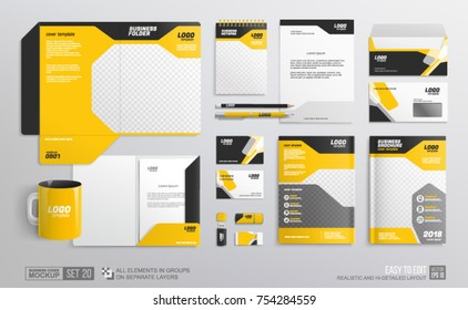 Corporate Brand Identity Mockup set with black and yellow design. Business stationary elements mockup template. Аbstract geometric graphics on folder, guide, annual report cover, brochure
