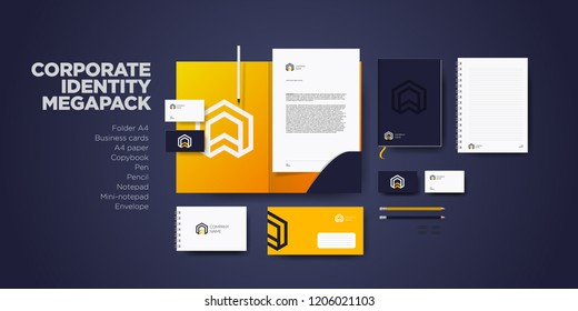 Corporate branding identity design. Stationery mockup vector megapack set. Template for industrial or technic company. Folder and A4 letter, visiting card and envelope.