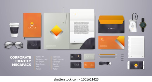 Corporate branding identity design. Stationery mockup vector template with orange logo.