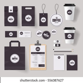 corporate branding identity mock up template for coffee shop and restaurant with card, menu, packaging and coffee logo design,vector for editable