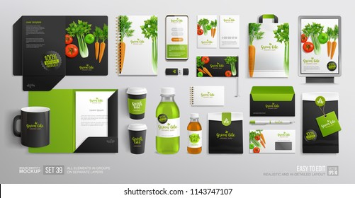 Corporate Branding identity Mock-Up set Organic Food for Vegan Cafe, restaurant and natural food shop. Vegetal Logo template with vector vegetables. Stationary mockup organic package, juice bottle