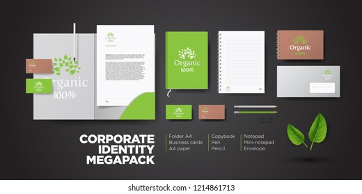 Corporate branding identity natural organic eco design. Stationery mockup vector megapack set. Template for vegan, flower shop or nature company. Folder and A4 letter, visiting card and envelope.