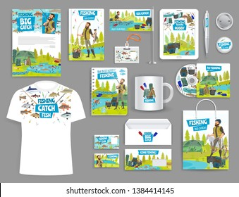 Corporate branding mockup templates. Vector fishing sport and fisher adventure promo business materials t-shirt, cup or mug and corporate brand envelope, cd or calendar and pen with badge