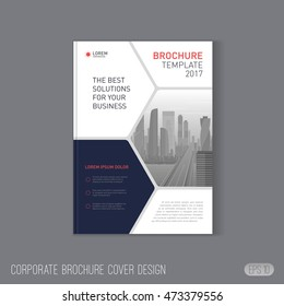 Corporate brochure cover design layout. Good for catalog, annual report cover, poster or flyer layout for investment or construction company.