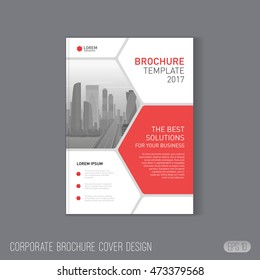 Corporate brochure cover design template layout. Good for catalog, annual report cover, poster template or leaflet layout for investment or construction company.