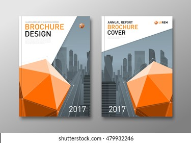 Corporate brochure cover design template with lowpoly 3d solid. Good for catalog, annual report, poster or flyer.